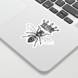 Queen Bee | Vintage Bee with Crown | Black and White | Sticker