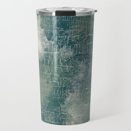 Grunge Abstract Art in Teal, Olive Green and Cream Travel Mug