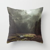 bianca green Throw Pillows featuring Foggy Forest Creek by Kevin Russ
