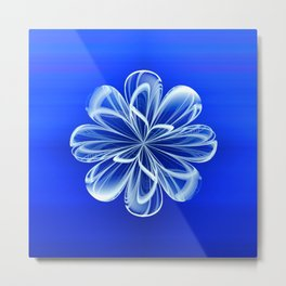 White Bloom on Blue Metal Print