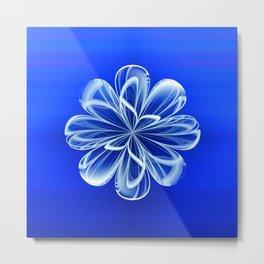 White Bloom on Blue Metal Print