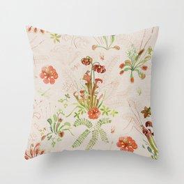 Carnivorous Floral Throw Pillow