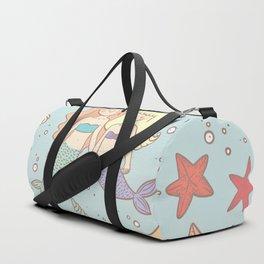 Cute Vintage Style Bff Mermaids Seamless Pattern, Blue Duffle Bag