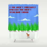 depression Shower Curtains featuring A Constant State of Depression by ThatLittleDemon