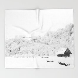 Winter Forest (Black and White) Throw Blanket