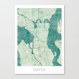 Seattle Map Blue Vintage Canvas Print