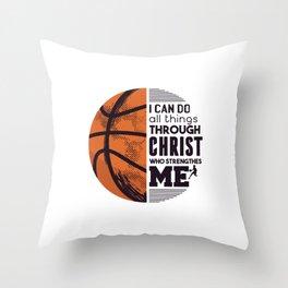 Religious Basketball Hoop Jesus christ bball Throw Pillow
