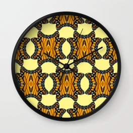 Monarch Butterfly Patterned Print in Orange Yellow and Brown Wall Clock