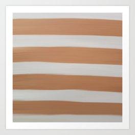 Modern White Copper Brown Stripes Brushstrokes Art Print