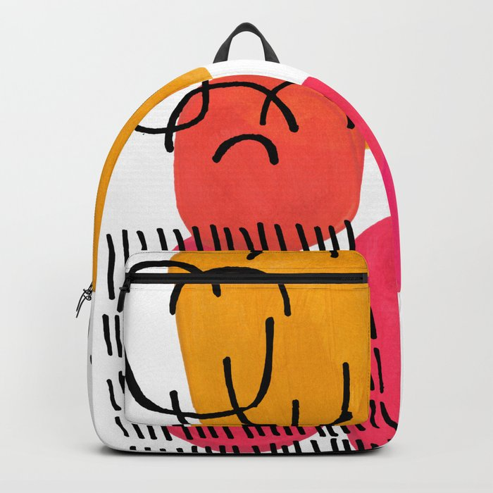 Modern Mid Century Fun Colorful Abstract Minimalist Painting Yellow Pink Bubble Candy Drops Backpack