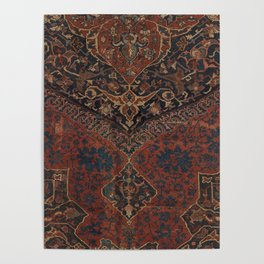 Boho Chic Dark VII // 17th Century Colorful Medallion Red Blue Green Brown Ornate Accent Rug Pattern Poster