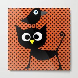 Black cat and raven Metal Print