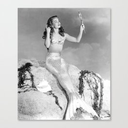 Vintage Mermaid : Mr Peabody & The Mermaid Canvas Print