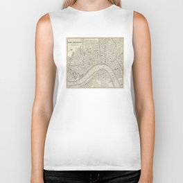 Vintage Map of New Orleans LA (1866) Biker Tank