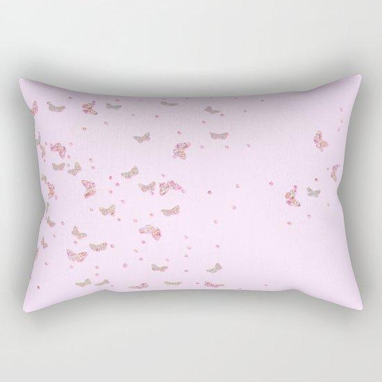 Butterflies diamonds and glitter II- Pink Glitter butterfly pattern Rectangular Pillow