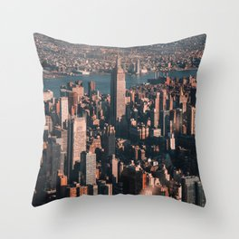 Empire State Building seen from a plane Throw Pillow