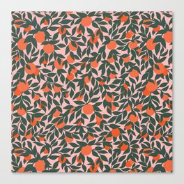 Oranges and Leaves Pattern - Pink Canvas Print