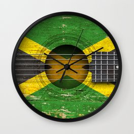 Old Vintage Acoustic Guitar with Jamaican Flag Wall Clock