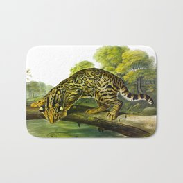 Leopard Cat Vintage Illustration y John James Audubon Bath Mat