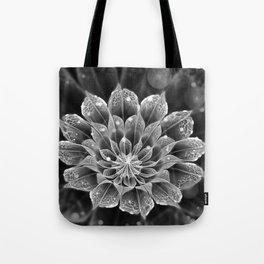 BnW Fractal Dahlia Flower via Electron Microscope Tote Bag