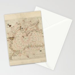 Antique / Vintage Map - The Black Sea, from Andrea Bianco's Atlas (1436) Stationery Cards