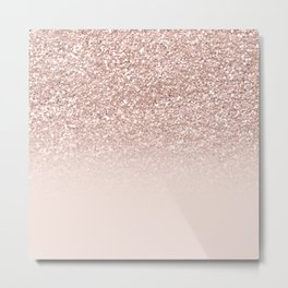 Modern sparkles rose gold ombre sequins glitter fancy girly blush pink Metal Print