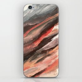 Moving Mountains: an abstract mixed media piece in contrasting pinks, purples, blues, and whites iPhone Skin