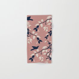 Birds, Leaves & Branches, Pale Pinks and Navy Hand & Bath Towel