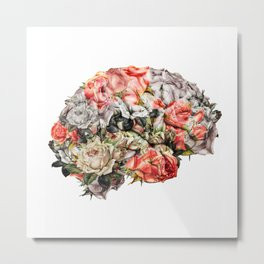 Flower Brain Metal Print