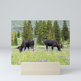 Two Moose Grazing Mini Art Print