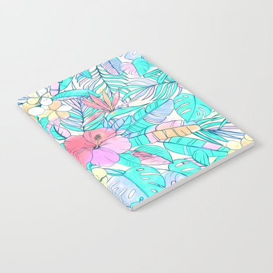 Pretty Pastel Hawaiian Hibiscus Print Notebook