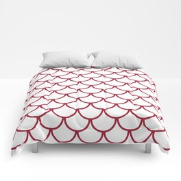 Crimson Fish Scales Pattern Comforters