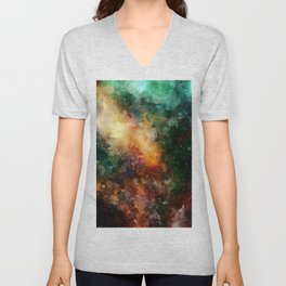 Abstract Galaxy Watercolor Unisex V-Neck