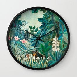 Wildlife in Tropical Jungle Painting Wall Clock