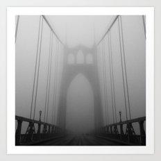 St Johns Bridge in Fog 2, Portland, Oregon Art Print