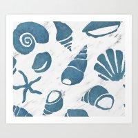 Azure South pacific sea shells - white marble Art Print