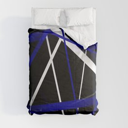 Seamless Royal Blue and White Stripes on A Black Background Comforters