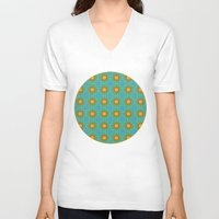 yellow pattern V-neck T-shirts featuring Yellow Salsify Flower Pattern by Peter Gross