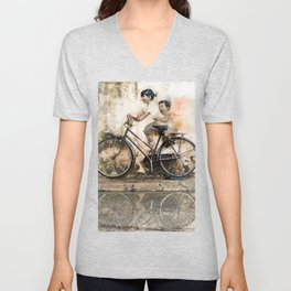Kids on Bicycle - Reflections of Penang Unisex V-Neck