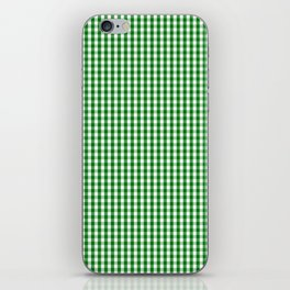 Mini Christmas Green Gingham Check on Snow White iPhone Skin