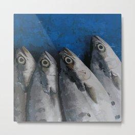 Blue Fish Illustration Metal Print