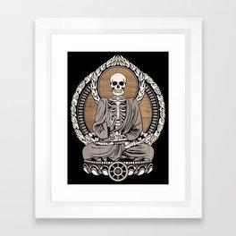 Starving Buddha - Wood Grain Framed Art Print