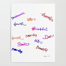 Faith, Us, Thankful, Love, Smile, Words Of Hope, Watercolor Poster