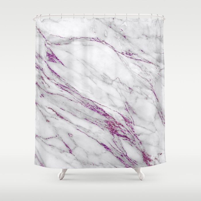 Gray And Ultra Violet Marble Agate Shower Curtain
