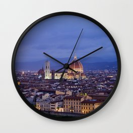 Florence Duomo At Night Wall Clock