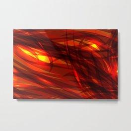 Glowing cosmic orange background made of black red metallic lines. Metal Print