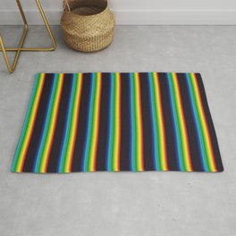 Retro Vintage Multi-Colored Vapor Wave Constrast Colors Stripes Rug