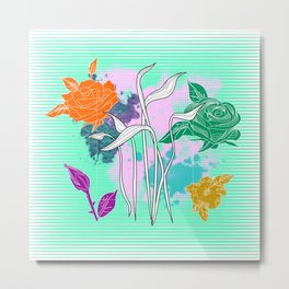 Vector Neon Florals, Abstract Background Metal Print