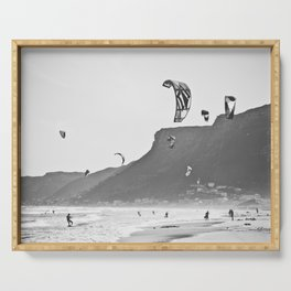Windsurfers having fun on the Atlantic Ocean - Landscape Photography #Society6 Serving Tray