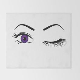 Violet Wink (Right Eye Open) Throw Blanket